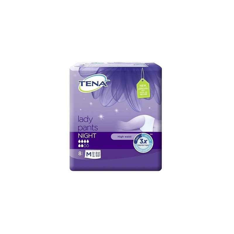 TENA LADY PANTS NIGHT MEDIUM 8 MUTANDINE ASSORBENTE
